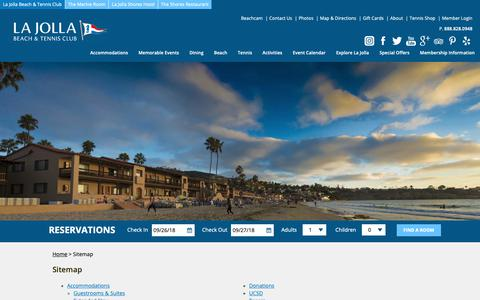 Screenshot of Site Map Page ljbtc.com - Sitemap | La Jolla Beach and Tennis Club - captured Sept. 26, 2018