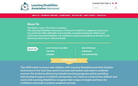 Screenshot of About Page ldav.ca - About Us - LDAV - captured Jan. 27, 2016