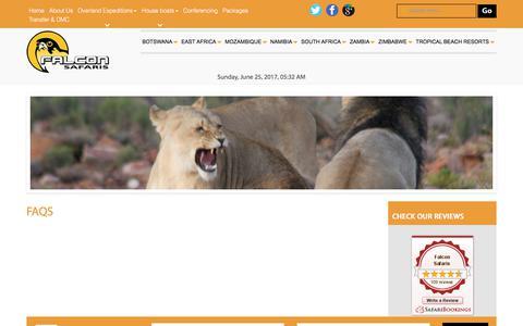 Screenshot of FAQ Page falconsafaris.com captured June 25, 2017