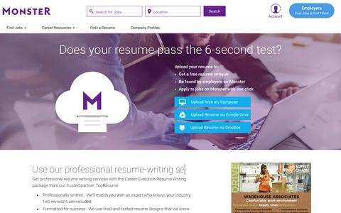 Create A Resume: Upload Resume & Writing Services | Monster.com