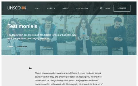Screenshot of Testimonials Page linsco.com - Testimonials - captured Sept. 28, 2018