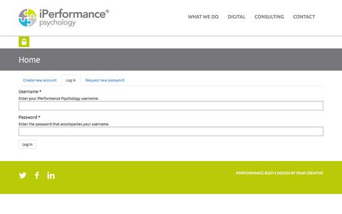 Screenshot of Login Page iperformance.us - Home | iPerformance Psychology - captured Nov. 3, 2014