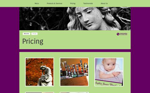 Screenshot of Pricing Page themolo.com - Memories of Loved Ones - captured Oct. 27, 2014