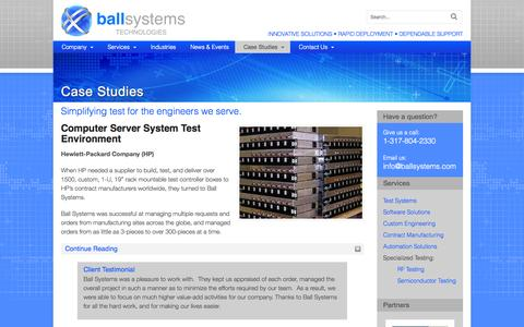 Screenshot of Case Studies Page ballsystems.com - Case Studies - Automated Testing, Quality Assurance with Ball Systems - captured Oct. 29, 2014