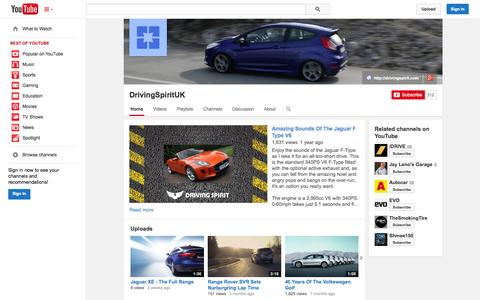 Screenshot of YouTube Page youtube.com - DrivingSpiritUK  - YouTube - captured Oct. 29, 2014