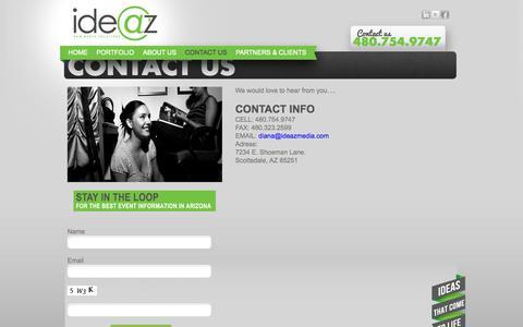 Screenshot of Contact Page ideazmedia.com - Scottsdale Media Buying Agency | Ideaz Media - captured Oct. 6, 2014