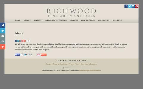 Screenshot of Privacy Page richwoodfineart.com - Privacy - Richwood Fine ArtRichwood Fine Art - captured Oct. 7, 2014