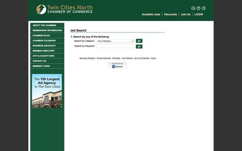 Screenshot of Jobs Page twincitiesnorth.org - Twin Cities North Chamber of Commerce - captured Feb. 16, 2016