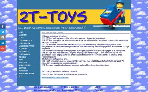 Screenshot of Privacy Page 2ttoys.nl - PRIVACY - captured Aug. 18, 2016