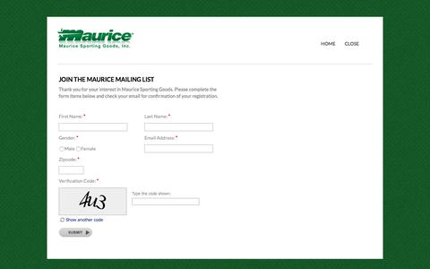 Screenshot of Signup Page maurice.net - Join Our Mailing List | Maurice Sporting Goods - captured Sept. 24, 2018