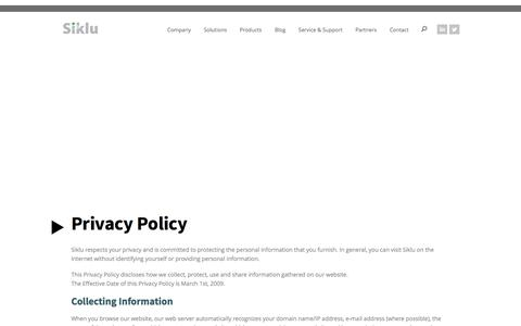Screenshot of Privacy Page siklu.com - Privacy Policy - Siklu - captured Feb. 14, 2016