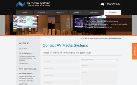 Screenshot of Contact Page avsystems.com.au - Contact Us for Audio Visual Installation | AV Media Systems - captured Oct. 2, 2018