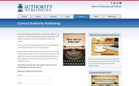 Screenshot of Contact Page authoritypublishing.com - | Contact Authority Publishing - captured Aug. 20, 2019