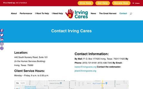 Screenshot of Contact Page irvingcares.org - Contact - Irving Cares - captured Sept. 20, 2018