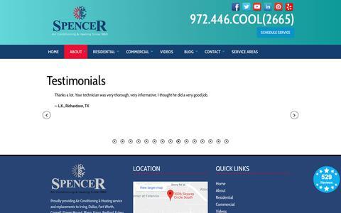 Screenshot of Testimonials Page spencerairconditioning.com - Testimonials - Spencer Air Conditioning and Heating   Hvac Irving, Tx - captured Dec. 11, 2018