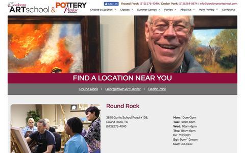 Screenshot of Locations Page cordovanartschool.com - Choose a Location - Cordovan Art School Cordovan Art School - captured July 22, 2018