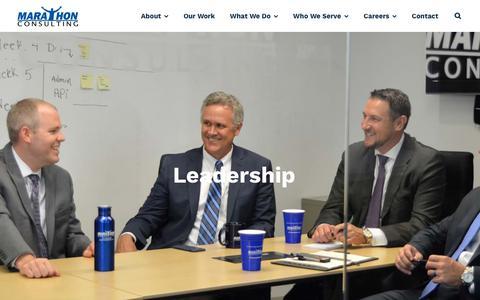Screenshot of Team Page marathonus.com - Leadership Team | Marathon Consulting - captured Feb. 8, 2019
