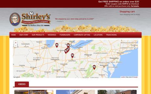 Screenshot of Locations Page shirleyspopcorn.com - Shirley's Gourmet Popcorn Company   Locations - captured Oct. 18, 2018