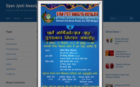 Screenshot of Home Page gjav.in - Gyan Jyoti Awasiya Vidyalaya : Residential CBSE School, English Medium - captured Feb. 2, 2016