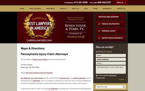Screenshot of Maps & Directions Page caringlawyers.com - Maps & Directions | Pennsylvania Injury Claim Lawyers | Pittsburgh Medication Mistake Attorneys | Medical Error Law Firm Alleghany County - captured Oct. 7, 2014