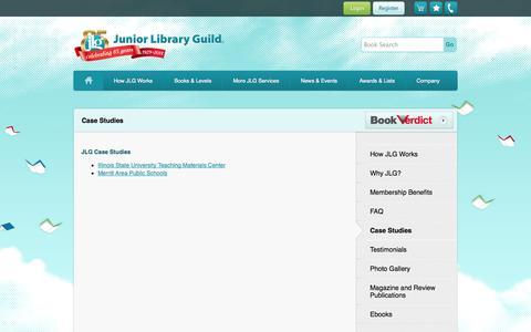 Screenshot of Case Studies Page juniorlibraryguild.com - Junior Library Guild - captured Sept. 30, 2014