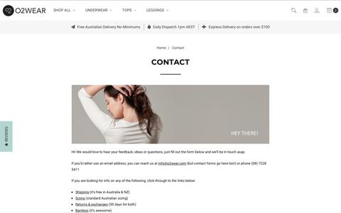 Screenshot of Contact Page o2wear.com - Contact Us - Bamboo Clothes - O2wear Australia Online Shop - captured Nov. 6, 2018