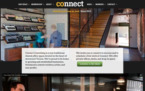 Screenshot of Home Page connectcoworking.com - Connect Coworking - A Tucson Collaborative Workspace - captured Dec. 10, 2015