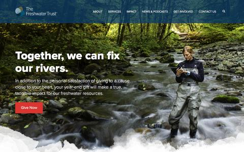 Screenshot of Home Page thefreshwatertrust.org - Home - The Freshwater Trust - captured Jan. 11, 2016