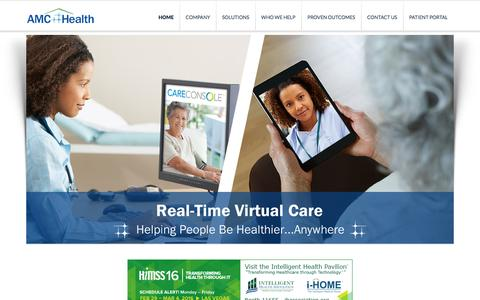 Screenshot of Home Page amchealth.com - Remote Patient Monitoring | Innovative Technology Solutions for Better Health - captured Feb. 4, 2016