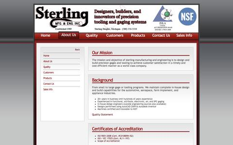 Screenshot of About Page sterlingmfg.org - Sterling Manufacturing and Engineering - About Us - captured Oct. 6, 2014
