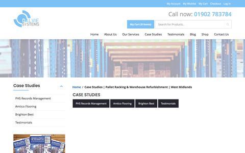 Screenshot of Case Studies Page dalviesystems.co.uk - Case Studies | Pallet Racking & Warehouse Refurbishment | West Midlands - captured Oct. 12, 2017