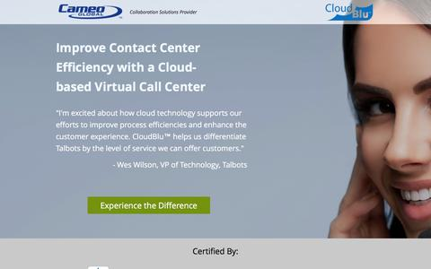 Screenshot of Landing Page cameoglobal.com - Cloud Based Virtual Call Center Powered By Cisco | Cameo Global - captured Sept. 1, 2016