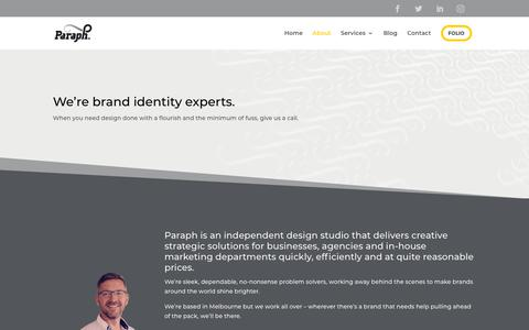 Screenshot of About Page paraph.com.au - Learn more about Paraph, The Brand Identity Experts - captured July 15, 2018