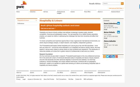 Hospitality & Leisure : Industries - PwC South Africa