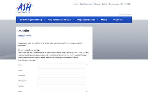 Screenshot of Press Page ashcarrosserie.nl - Media - ASH Carrosserie - captured Feb. 5, 2016