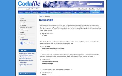 Screenshot of Testimonials Page codafile.co.nz - Testimonials - Codafile Innovative Records Management - New Zealand - captured Oct. 2, 2014