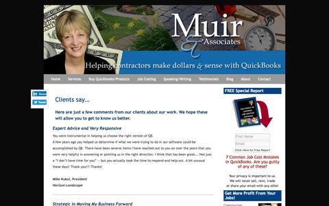 Screenshot of Testimonials Page muirassoc.com - QuickBooks Landscaping Lawn Care Irrigation Job Costing Frederick MD Testimonials - captured Oct. 18, 2018