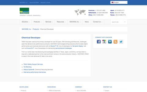 Screenshot of Developers Page sacheminc.com - Chemical Developer - captured Sept. 30, 2014