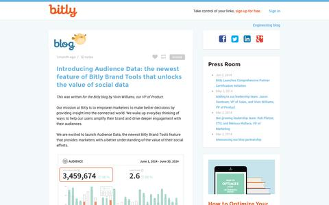 Screenshot of Blog bitly.com - bitly blog - captured Sept. 12, 2014
