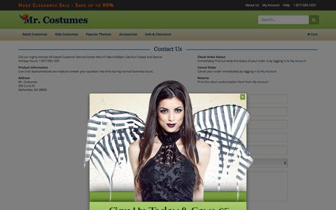 Screenshot of Contact Page mrcostumes.com - Contact Us - Mr. Costumes - captured Jan. 21, 2016