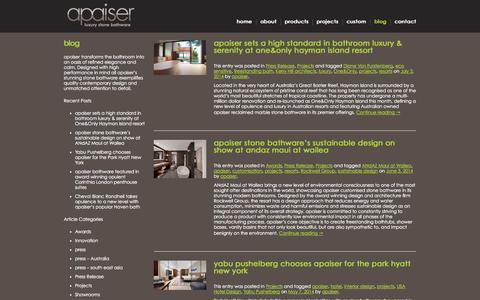 Screenshot of Blog apaiser.com - apaiser | Luxury stone bathware - captured Sept. 30, 2014