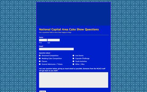 Screenshot of Contact Page wufoo.com - National Capital Area Cake Show Questions - captured March 3, 2016