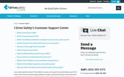 Screenshot of Support Page idrivesafely.com - I Drive Safely - Customer Support - captured May 6, 2018
