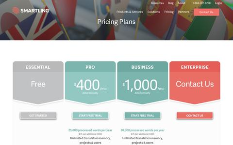 Screenshot of Pricing Page smartling.com - Pricing Plans – Plans For Businesses Of All Sizes | Smartling - captured May 14, 2017