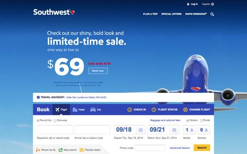 Screenshot of Home Page southwest.com - Southwest Airlines | Book Flights, Airline Tickets, Airfare - captured Sept. 19, 2014