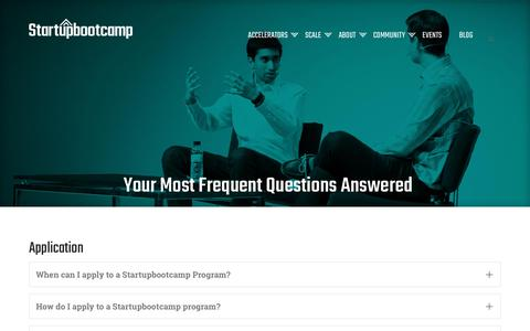 Screenshot of FAQ Page startupbootcamp.org - FAQ - Startupbootcamp - captured Dec. 17, 2017