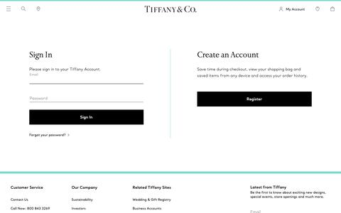 Screenshot of Login Page tiffany.com - Sign In | Tiffany & Co. - captured March 21, 2019