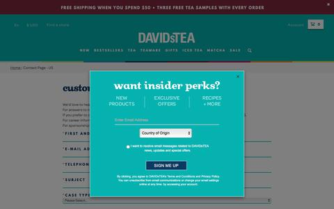 Screenshot of Contact Page davidstea.com - Contact Page - US - captured Oct. 9, 2017