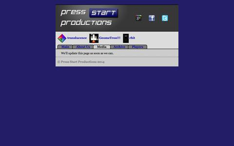 Screenshot of Press Page pressstartproductions.com - Press Start Productions - Media page - captured Sept. 30, 2014