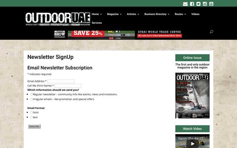 Screenshot of Signup Page outdooruae.com - Newsletter SignUp | OutdoorUAE - captured Nov. 12, 2017